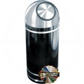 "Glaro S1256 Monte Carlo Wastemaster Dome Top Waste Can - 8 Gallon Capacity - 12"" Dia. x 30"" H - Satin Aluminum Accents"
