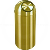 "Glaro S1530BE Atlantis Wastemaster Dome Top Trash Can - 12 Gallon Capacity - 15"" Dia. x 30"" H - All-Weather Satin Brass"