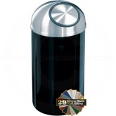 "Glaro S1530 Mount Everest Dome Top Trash Receptacle - 12 Gallon Capacity - 15"" Dia. x 30"" H - Satin Aluminum Cover"