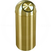 "Glaro S1536BE Atlantis Wastemaster Dome Top Trash Can - 16 Gallon Capacity - 15"" Dia. x 36"" H - All-Weather Satin Brass"