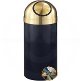 "Glaro S1537BMBE Value Dome Top Garbage Can - 23 Gallon Capacity - 15"" Dia. x 36"" H - Blue Marble with Satin Brass Top"