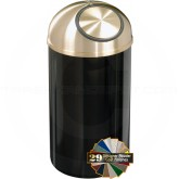 "Glaro S1540 Mount Everest Dome Top Garbage Receptacle - 12 Gallon Capacity - 15"" Dia. x 30"" H - Satin Brass Cover"