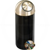 "Glaro S1541 Mount Everest Dome Top Garbage Bin - 16 Gallon Capacity - 15"" Dia. x 36"" H - Satin Brass Cover"