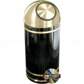"Glaro S1555 Monte Carlo Wastemaster Dome Top Trash Can - 16 Gallon Capacity - 15"" Dia. x 36"" H - Satin Brass Accents"