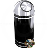 "Glaro S1556 Monte Carlo Wastemaster Dome Top Trash Receptacle - 16 Gallon Capacity - 15"" Dia. x 36"" H - Satin Aluminum Accents"