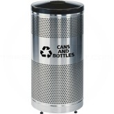 "Rubbermaid / United Receptacle Howard Classic S3SSG-BK 5"" Diameter Recycling Open Top - Stainless Steel Body / Black Top - Perforated Steel Waste Receptacle - 25 gallon capacity - 18"" Dia. x 35 1/2"" H - Thumbnail Image"