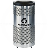 "Rubbermaid / United Receptacle Howard Classic S3SSP-BK Paper Recycling Stainless Steel/Black Perforated Steel Waste Receptacle - 25 gallon capacity - 18"" Dia. x 35 1/2"" H"