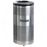 "Rubbermaid / United Receptacle Howard Classic S3SST-BK Stainless Steel/Black Powder Coat Top Perforated Steel Waste Receptacle - 25 gallon capacity - 18"" Dia. x 35 1/2"" H"