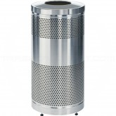 "Rubbermaid / United Receptacle Howard Classic S3SST-SS Stainless Steel Perforated Steel Waste Receptacle - 25 gallon capacity - 18"" Dia. x 35 1/2"" H"
