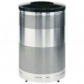 "Rubbermaid / United Receptacle Howard Classic S55SST-BK Stainless Steel/Black Powder Coat Top Perforated Steel Waste Receptacle - 51 gallon capacity - 25"" Dia. x 35 1/2"" H"