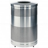 "Rubbermaid / United Receptacle Howard Classic S55SST-SS Stainless Steel Perforated Steel Waste Receptacle - 51 gallon capacity - 25"" Dia. x 35 1/2"" H"
