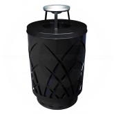 "Witt Industries Sawgrass Covington Collection Trash Can with Ash Top Lid - 40 Gallon Capacity - 24"" Dia. x 42.85"" H - Black in Color"