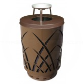 "Witt Industries Sawgrass Covington Collection Trash Can with Ash Top Lid - 40 Gallon Capacity - 24"" Dia. x 42.85"" H - Brown in Color"