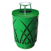"Witt Industries Sawgrass Covington Collection Trash Can with Ash Top Lid - 40 Gallon Capacity - 24"" Dia. x 42.85"" H - Green in Color"