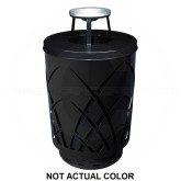 "Witt Industries SAW40P-AT-SLV Sawgrass Covington Collection Trash Can with Ash Top Lid - 40 Gallon Capacity - 24"" Dia. x 42.85"" H - Silver in Color"