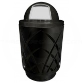 "Witt Industries Sawgrass Covington Collection Trash Can with Dome Top Lid - 40 Gallon Capacity - 24"" Dia. x 44"" H - Black in Color"
