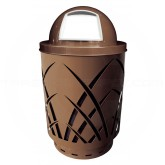 "Witt Industries Sawgrass Covington Collection Trash Can with Dome Top Lid - 40 Gallon Capacity - 24"" Dia. x 44"" H - Brown in Color"