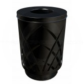 "Witt Industries Sawgrass Covington Collection Trash Can with Flat Top Lid - 40 Gallon Capacity - 24"" Dia. x 34 5/8"" H - Black in Color"