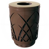 "Witt Industries Sawgrass Covington Collection Trash Can with Flat Top Lid - 40 Gallon Capacity - 24"" Dia. x 34 5/8"" H - Brown in Color"