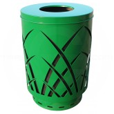 "Witt Industries Sawgrass Covington Collection Trash Can with Flat Top Lid - 40 Gallon Capacity - 24"" Dia. x 34 5/8"" H - Green in Color"