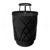 "Witt Industries Sawgrass Covington Collection Trash Can with Rain Cap Lid - 40 Gallon Capacity - 24"" Dia. x 42.85"" H - Black in Color"
