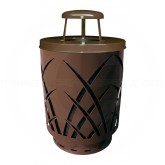 "Witt Industries Sawgrass Covington Collection Trash Can with Rain Cap Lid - 40 Gallon Capacity - 24"" Dia. x 42.85"" H - Brown in Color"