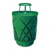 "Witt Industries Sawgrass Covington Collection Trash Can with Rain Cap Lid - 40 Gallon Capacity - 24"" Dia. x 42.85"" H - Green in Color"