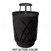 "Witt Industries SAW40P-RC-SLV Sawgrass Covington Collection Trash Can with Rain Cap Lid - 40 Gallon Capacity - 24"" Dia. x 42.85"" H - Silver in Color"