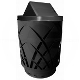 "Witt Industries Sawgrass Covington Collection Trash Can with Swing Top Lid - 40 Gallon Capacity - 24"" Dia. x 44"" H - Black in Color"