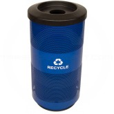 Witt Industries SC20-01-RC-BL Stadium Series Recycling Waste Receptacle with Flat Top Recycling Lid and 1 Round Opening - Recycle Blue in Color