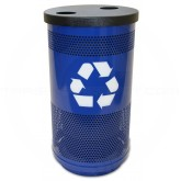 Witt Industries SC35-02-FHH Stadium Series Recycling Waste Receptacle with Flat Top Recycling Lid and 2 Hole Openings - Recycle Blue in Color