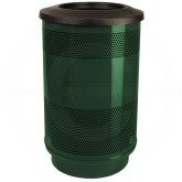 "Witt Industries SC55-01-FT Stadium Series Waste Receptacle with Flat Top Lid - 55 Gallon Capacity - 23 1/2"" Dia. x 40"" H - Evergreen in Color"