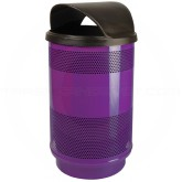"Witt Industries SC55-01-HT Stadium Series Waste Receptacle with Hood Top Lid - 55 Gallon Capacity - 23 1/2"" Dia. x 49"" H - Purple in Color"