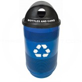 "Witt Industries SC55-03-R-HT Stadium Series Recycling Waste Receptacles with Hood Top Recycling Lid and Ad Openings - 23 1/2"" Dia. x 49"" H - 55 Gallon Capacity - Your choice of color"