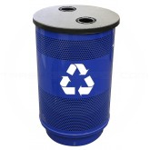 Witt Industries SC55-02-BS-FTRHH Stadium Series Recycling Waste Receptacle with Flat Top Recycling Lid and 2 Hole Openings - Recycle Blue in Color