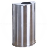 """Rubbermaid / United Receptacle SO12SSSPL Designer Line Open Top Half Round - 12 Gallon Capacity - 18"""" W x 32"""" H x 9"""" D - Stainless Steel"""