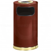 "Rubbermaid / United Receptacle SO16SU-10C European Designer Line Ash/Trash Can - 12 Gallon Capacity - 15"" Dia. x 28"" H - Crimson with Brass Accents"