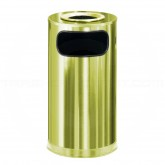 "Rubbermaid / United Receptacle SO16SUSBS Metallic Designer Line Ash/Trash Can - 12 Gallon Capacity - 15"" Dia. x 28"" H - Satin Brass"