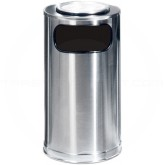 "Rubbermaid / United Receptacle SO16SUSSS Metallic Designer Line Ash/Trash Can - 12 Gallon Capacity - 15"" Dia. x 28"" H - Stainless Steel"