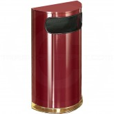 "Rubbermaid / United Receptacle SO8-10C European Designer Line Half Round Waste Receptacle - 9 Gallon Capacity - 18"" W x 32"" H x 9"" D - Crimson Body with Mirror Brass Trim"
