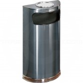 "Rubbermaid / United Receptacle SO8SU-20A European Designer Line Half Round Ash/Trash Can - 9 Gallon Capacity - 18"" W x 32"" H x 9"" D - Anthracite Body with Mirror Chrome Trim"