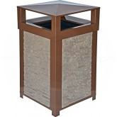 "Imprezza SQ40DTBROCG Dome Lid Trash Can - 40 Gallon Capacity - 22"" Sq. x 39"" H - Brown in Color with California Gold Panels"
