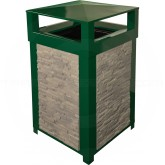 "Imprezza SQ40DTDGRFOX Dome Lid Trash Can - 40 Gallon Capacity - 22"" Sq. x 39"" H - Dark Green in Color with Gray Foxtrot Panels"