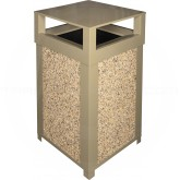 "Imprezza SQ40DTBEI Dome Lid Outdoor Trash Can - 40 Gallon Capacity - 22"" Sq. x 39"" H - Beige in Color with Riverstone Panels"