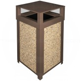 "Imprezza SQ40DTBRO Dome Lid Outdoor Trash Can - 40 Gallon Capacity - 22"" Sq. x 39"" H - Brown in Color with Riverstone Panels"