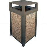 "Imprezza SQ40DTBRZ Dome Lid Outdoor Trash Can - 40 Gallon Capacity - 22"" Sq. x 39"" H - Bronze in Color with Riverstone Panels"