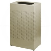 "Rubbermaid SR14EDP Rectangular Designer Line Silhouette Open Top Trash Can - 25 Gallon Capacity - 19 1/2"" W x 30"" H x 10"" Dp. - Desert Pearl"