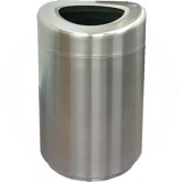 "Imprezza SSOT35 Stainless Steel Curved Open Top Container - 30 Gallon Capacity - 20"" Dia. x 33 1/2"" H - Satin Stainless Steel"