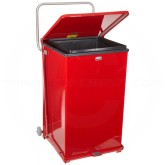 "Rubbermaid FGST40EWRD Square Step Can with Wheels - 40 Gallon Capacity - 19"" Sq. x 30"" H - Red in Color"