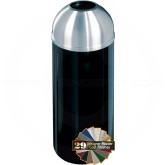 "Glaro T1230 Mount Everest Open Dome Top Waste Container - 8 Gallon Capacity - 12"" Dia. x 30"" H - Satin Aluminum Cover"